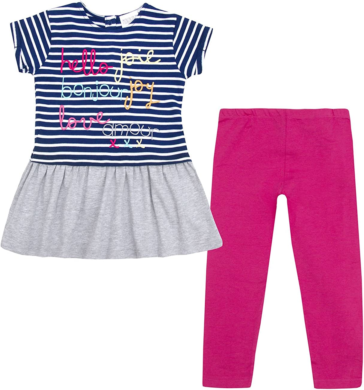 Ages 2 Up to 8 Years Minikidz Infant Girls Tunic /& Leggings Set Cotton Rich Outfit