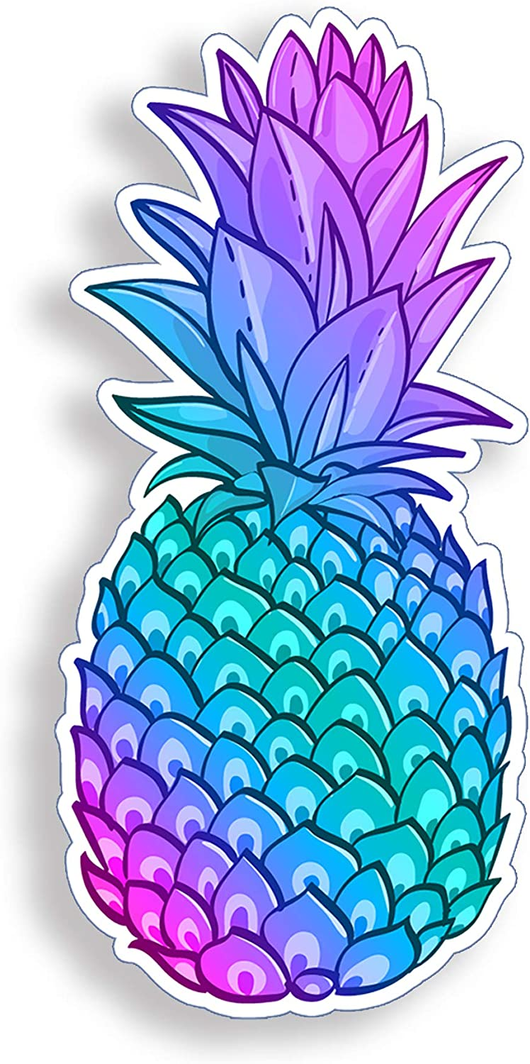 Blue Purple Pineapple Sticker Beach Cup Cooler Laptop Car Vehicle Window Bumper Colorful Vinyl Decal Graphic
