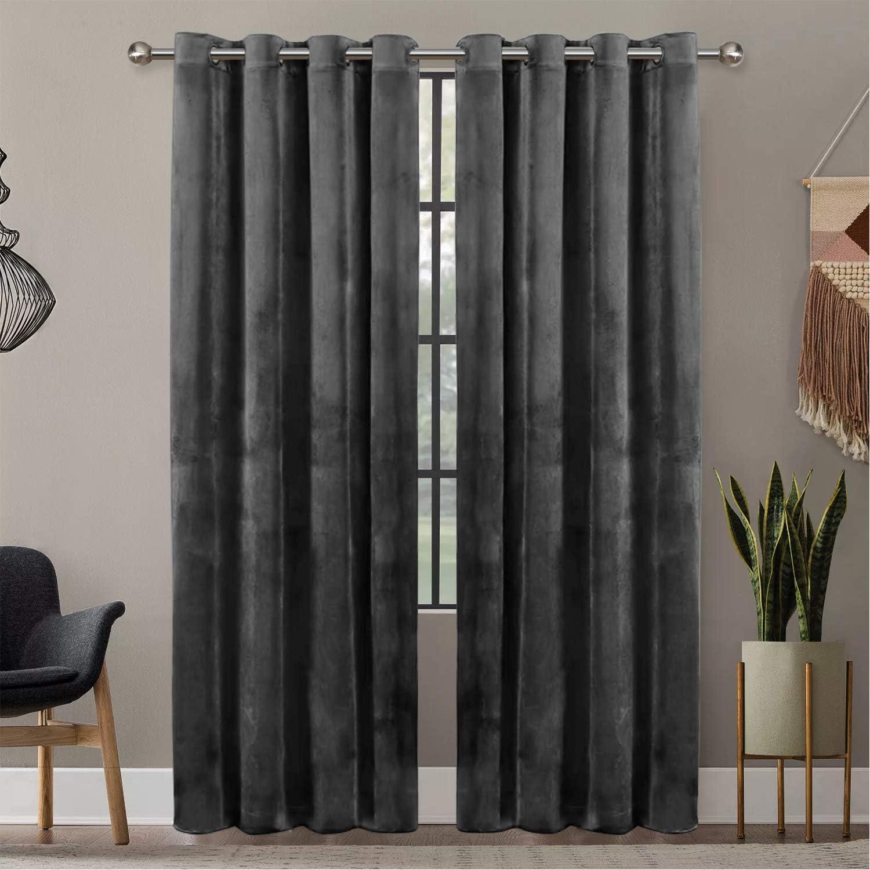 Oxford Homeware® Crushed Velvet Eyelet Curtains 66x90 Super Soft Lined Blackout Curtains Bedroom, Living Room, Kitchen Pair Panels + 2 Tie Backs (Grey, 168cm x 228cm) Grey 66″ x 90″ (168cm x 228cm)