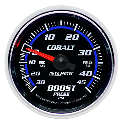 "Auto Meter 6108 Cobalt 2-1/16"" 30 in. Hg/45 PSI Mechanical Vacuum/Boost Gauge: Automotive"