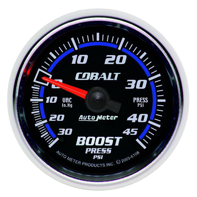 Auto Meter 6108 Cobalt 2-1/16' 30 in. Hg/45 PSI Mechanical Vacuum/Boost Gauge