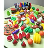 DishyKooker 120 Pcs Plastic Food Fruits Vegetables Toy Set Kitchen Pretend Play Toy for Boys and Girls