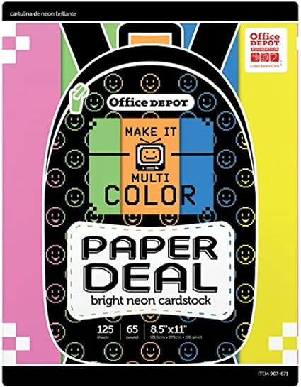 Amazon Com Office Depot Bright Neon Card Stock Cardstock