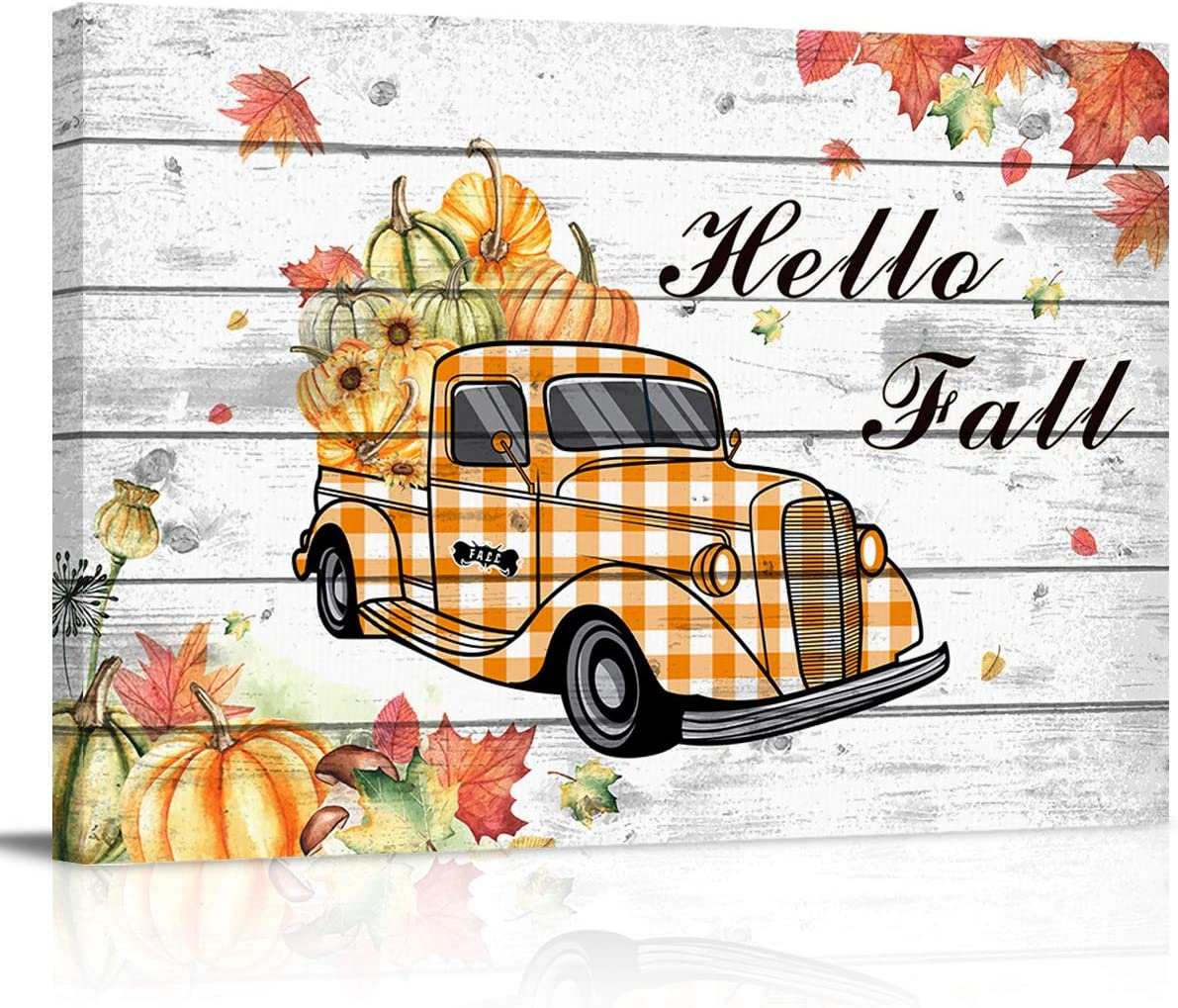 Meet 1998 Rectangle Canvas Print Wall Art Pumpkin Truck Leaf Artworks Living Room Bedroom Home Art Decor, Thanksgiving Hello Fall Oil Painting for Office,Ready to Hang, 16x24 inches