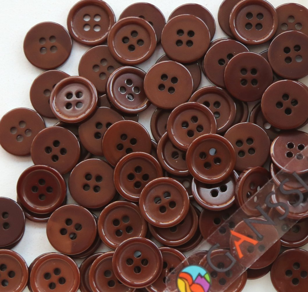 GANSSIA 5//8 Sewing Flatback Buttons Colored Black Pack of 160 Pcs 15mm
