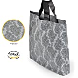 """50Pcs Paisley Large Merchandise Bags with Handles, 12"""" x 15.5""""/30 x 40cm, Thick and Durable Plastic Boutique Gift Bags"""