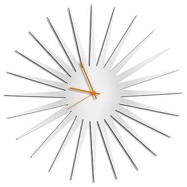Metal Art Studio Retro Kitchen Clocks 'MCM Starburst White Clock'   Unique Vintage Starburst Decor, Contemporary Bathroom Wall Clock (Orange Hands)