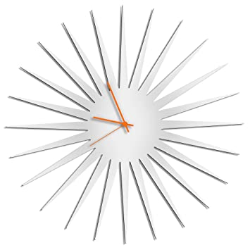 Charmant Sunburst Clock U0027MCM Starburst Clock   White/Orangeu0027 Midcentury Modern Wall  Clocks,