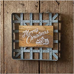 CTW 370302 Wood and Metal Tobacco Basket Wall Decor, 12-inch Square, Grey and Brown