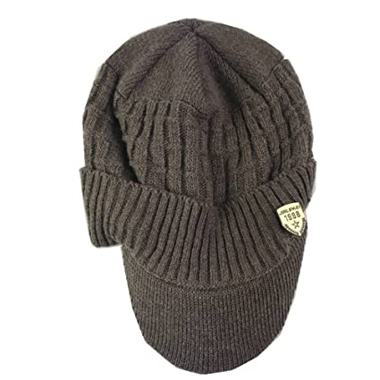 792bb74d750 Yalasga Men Warm Baggy Knitting Wool Beanie Caps Weave Crochet Winter Ski  Hat (Khaki)