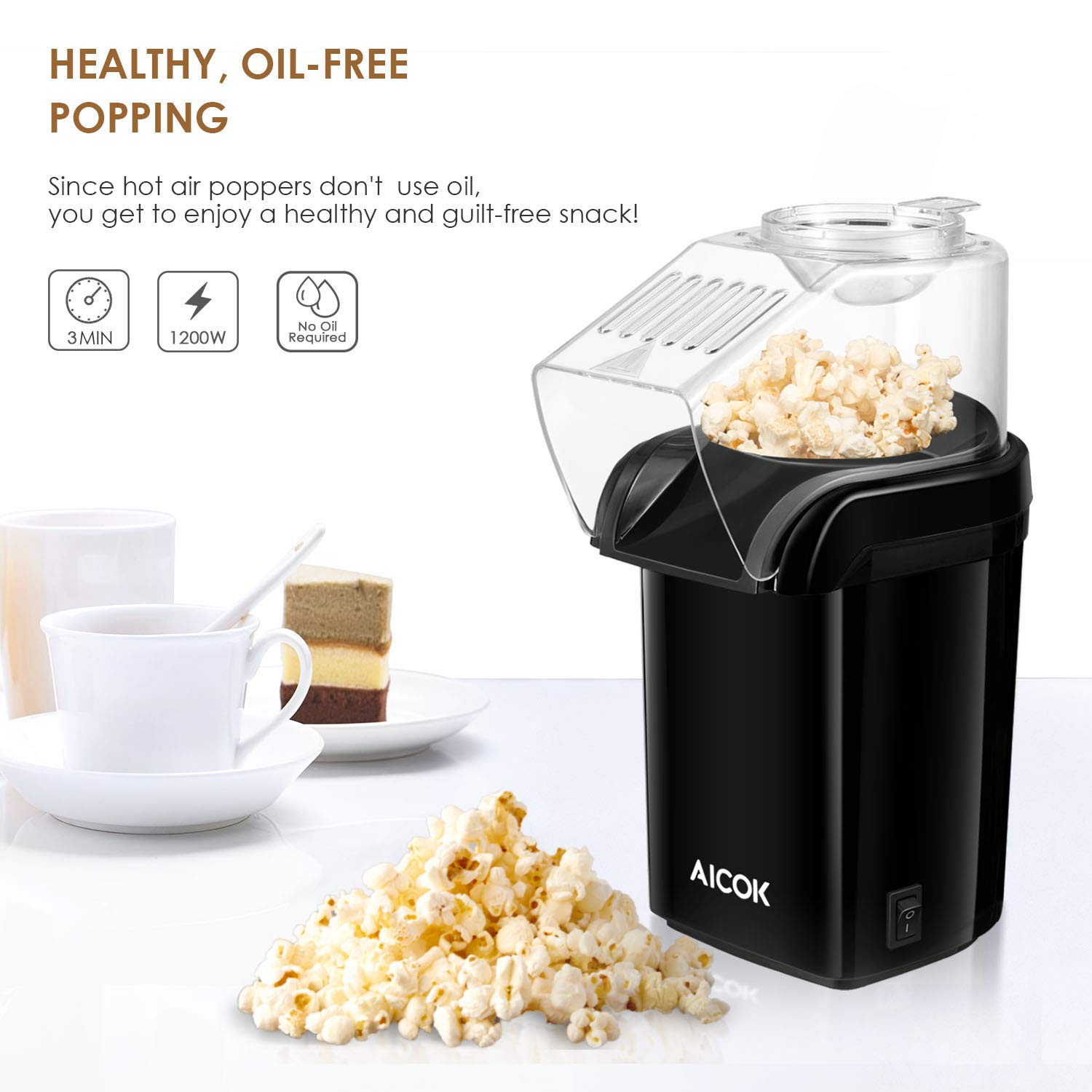 Amazon.com: Hot Air Popcorn Popper, Aicok 1200W Fast Popcorn Maker with Measuring Cup, Removable Lid, No Oil Needed, FDA and ETL Approved, Black: Kitchen & ...