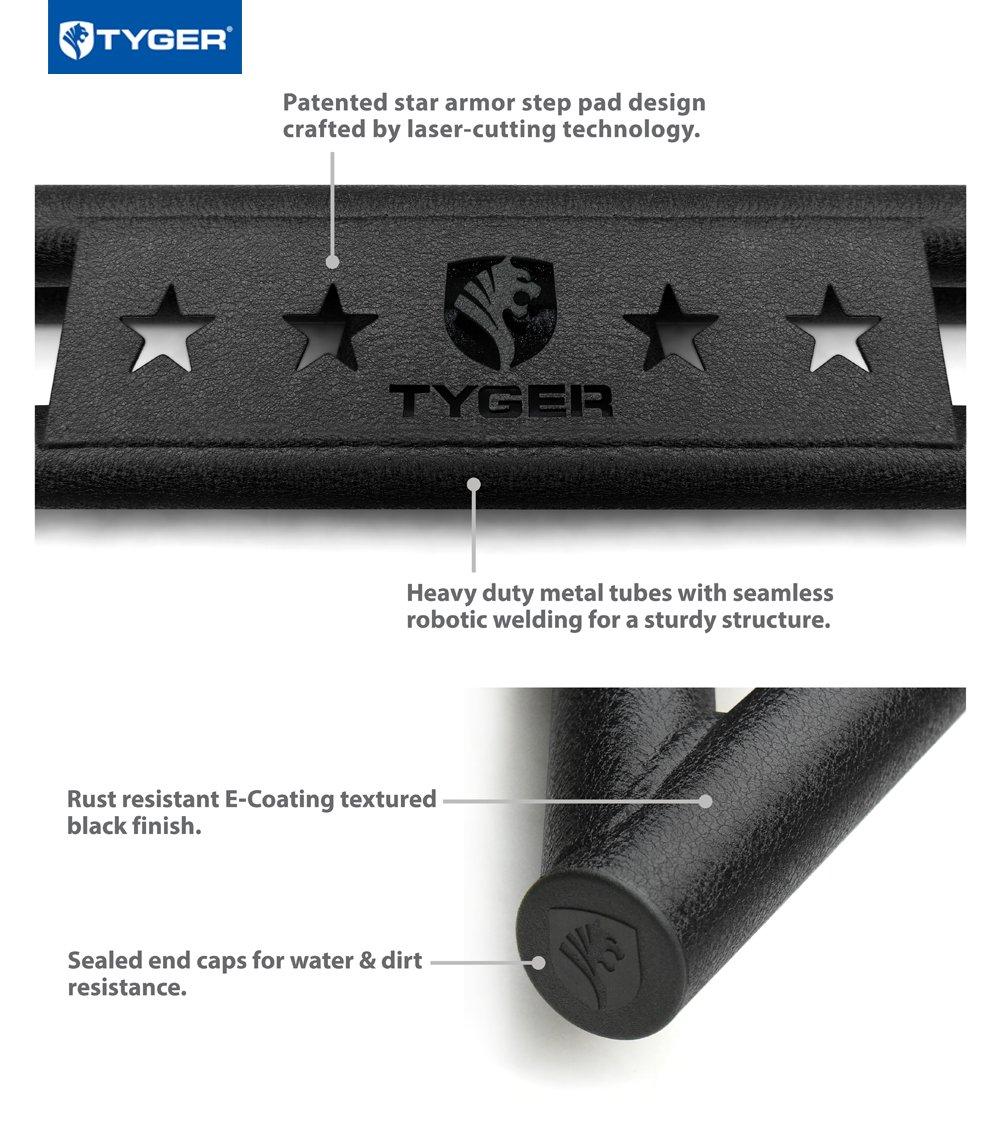 Nerf Bars Textured Black Running Boards Tyger TG-AM2D20088 Star Armor Kit for 2002-2009 Ram Quad Cab Side Step