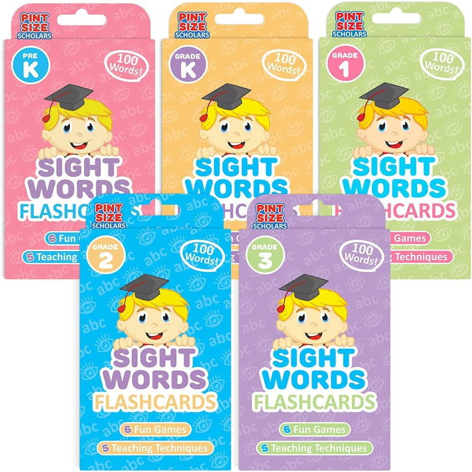 Pint-Size Scholars Ready Readers Bundle: 500 Jumbo-Sized Sight Words Flash Cards in | 5 Levels of Learning from Pre K to Third Grade | 5-Pack of Educational Flashcard Decks for Toddlers and Children