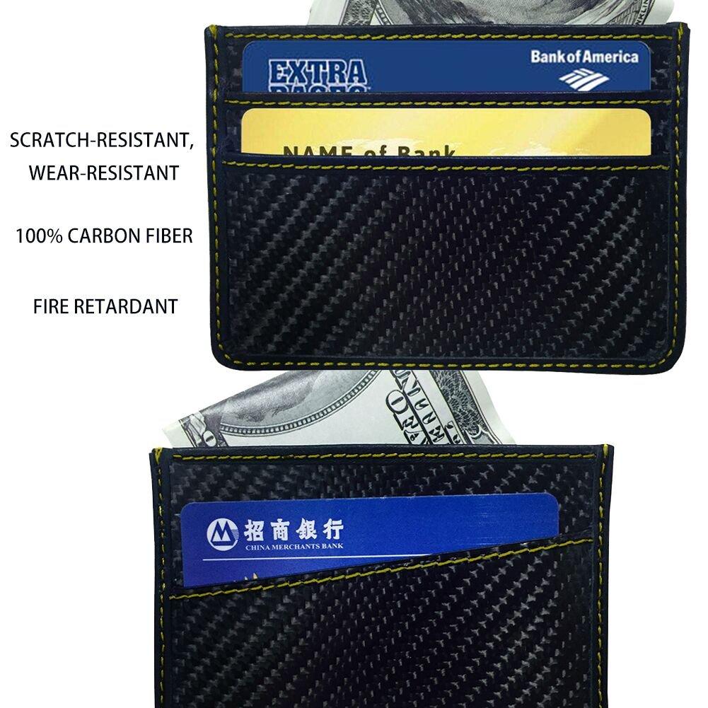 RFID Blocking MGCFTan Money Clip Glossy Carbon Fiber wallet Credit Card Business Card Holder 3K twill Gold