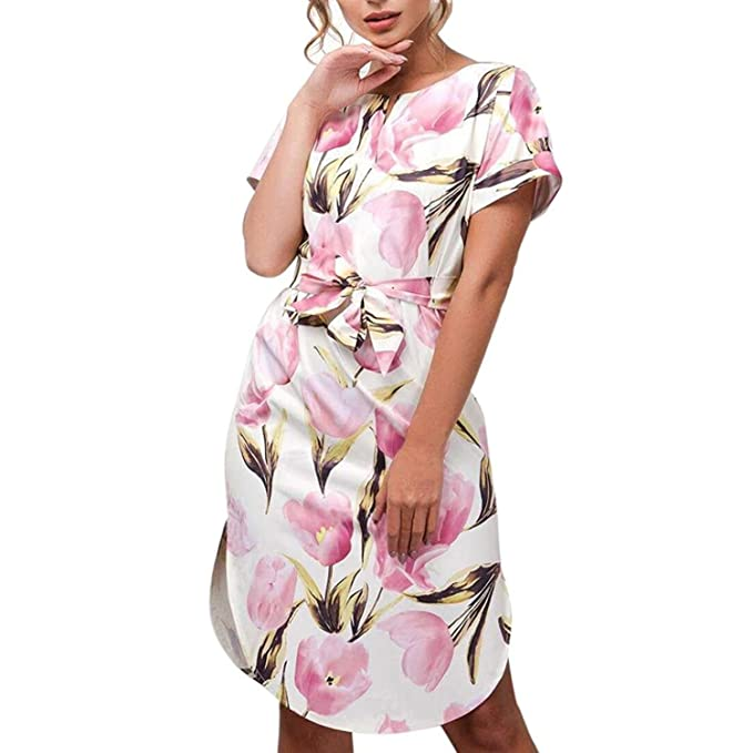 Vestido de Mujer, Lananas Mujer Verano Manga Corta Rosa Floral Impreso Elegante Delgado