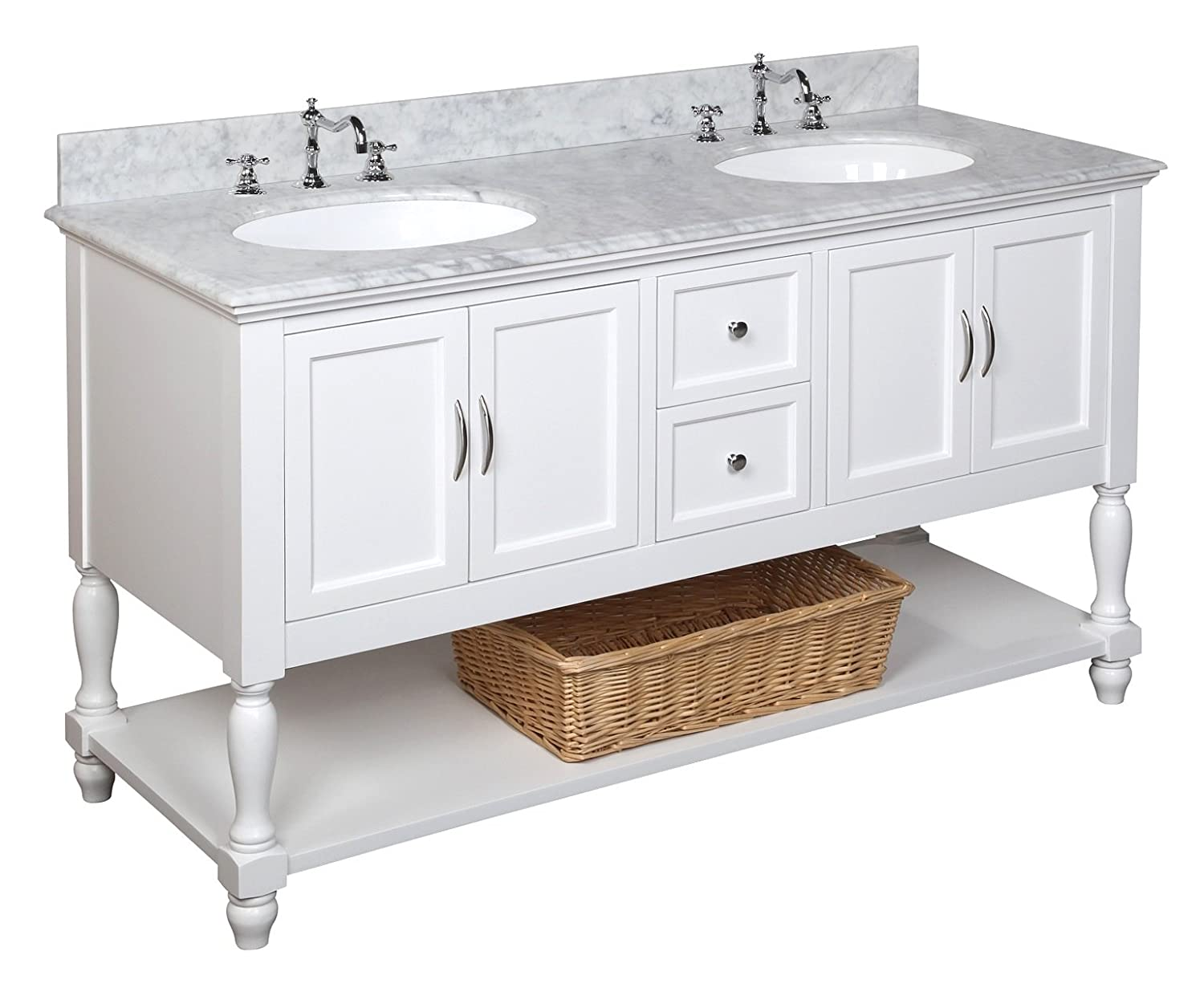 double bathroom sink vanity. Kitchen Bath Collection KBC667WTCARR Beverly Double Sink Bathroom Vanity  with Marble Countertop Cabinet Soft Close Function and Undermount Ceramic