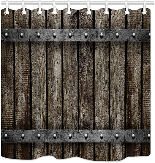 Rustic Old Wooden Barn Wall Bathroom Waterproof Fabric Shower Curtain With Hooks