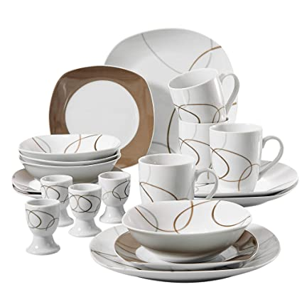 Amazon VEWEET 40Piece Porcelain Dinnerware Sets Brown Lines Best Patterned Dinnerware Sets