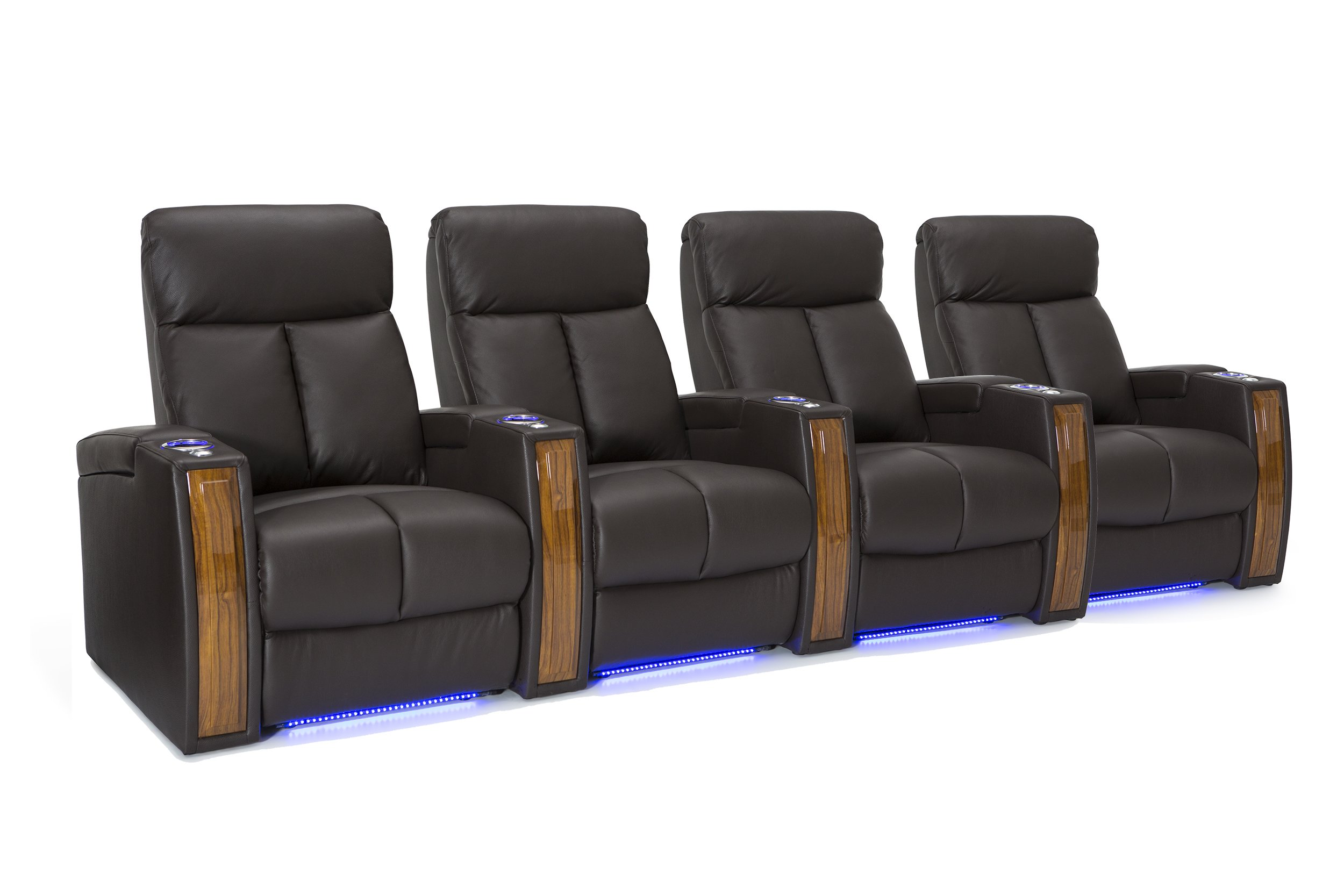 Seatcraft Seville Home Theater Seating Leather Power Recline with SoundShaker, In-arm Storage, Base Lighting, and Lighted Cup Holders (Brown, Row of 4)