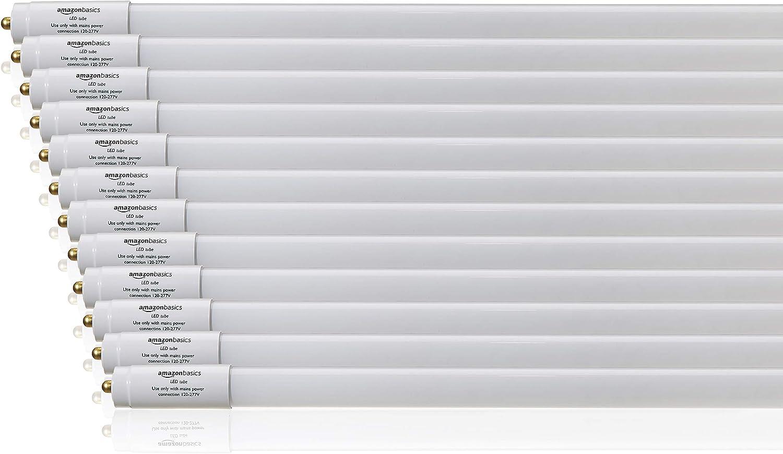 AmazonBasics Commercial Grade LED Tube Light - 5000K, 30W T8/T10/T12 Compatible, Ballast Bypass, Daylight, 8-Foot, 12-Pack