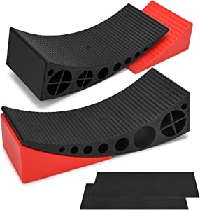Kohree 2 Packs Camper Leveler, RV Leveling Ramp Blocks Chock Kit - Up to 30,000 lbs, Anti-Slip Mats Included, Faster and Easier to Level Your Camper Travel Trailer