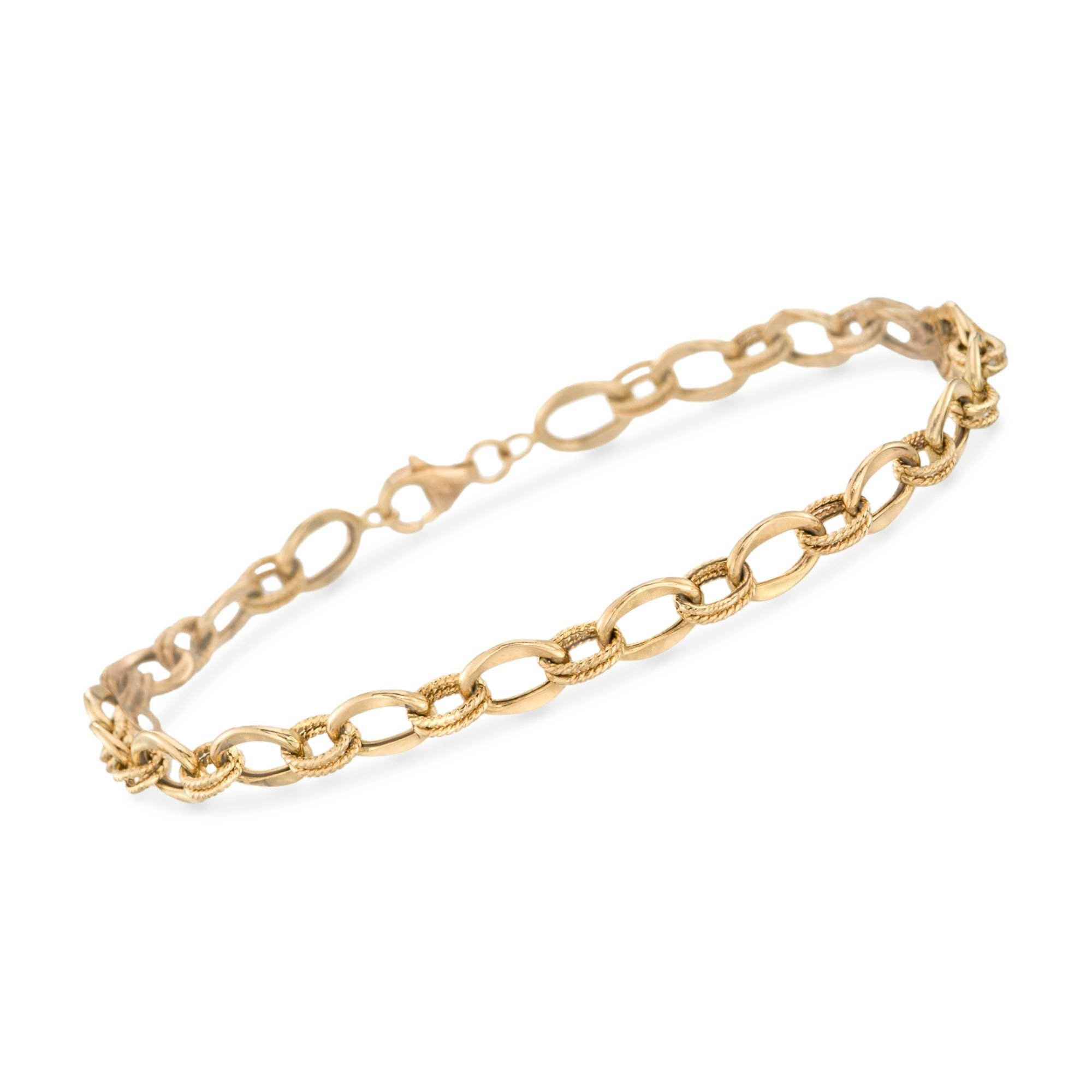 Ross-Simons 14kt Yellow Gold Textured and Polished Oval-Link Bracelet
