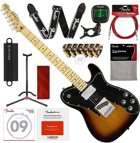 Guitarra eléctrica Squier by Fender Vintage modificada Telecaster Custom – 3 colores Sunburst – Diapasón de arce con soporte, correa, afinador y Deluxe Bundle: Amazon.es: Instrumentos musicales