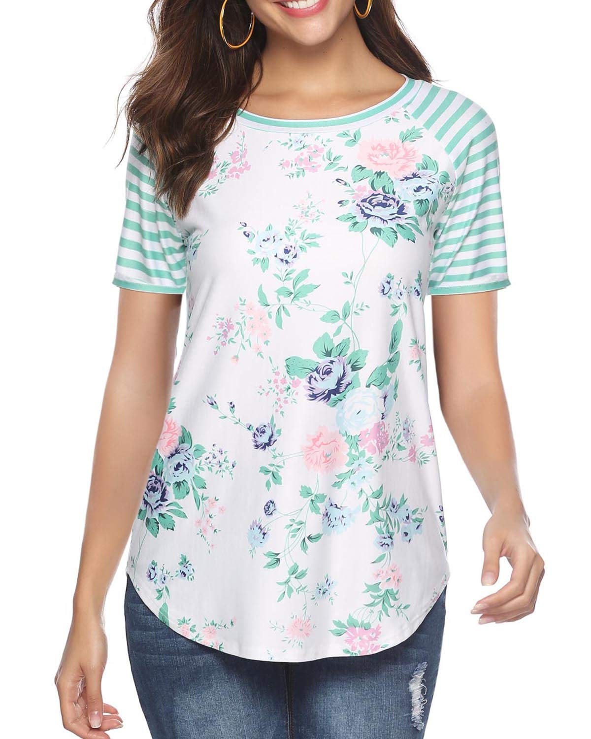 CEASIKERY Women's Blouse 3/4 Sleeve Floral Print T-Shirt Comfy Casual Tops for Women ((US 8-10) Medium, Short Sleeve Floral 014)
