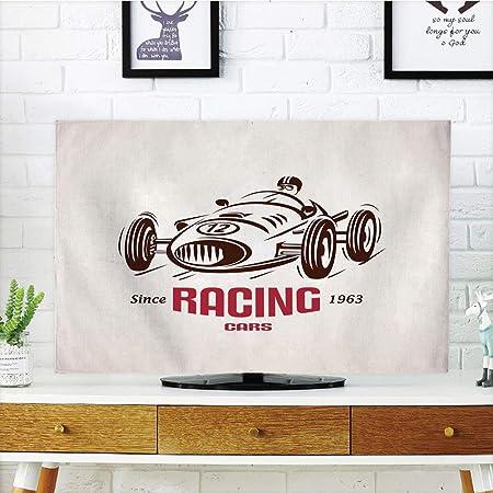 iPrint - Cubierta antipolvo para televisor LCD, coches, potente dibujos animados, color rojo, para saltar con humo