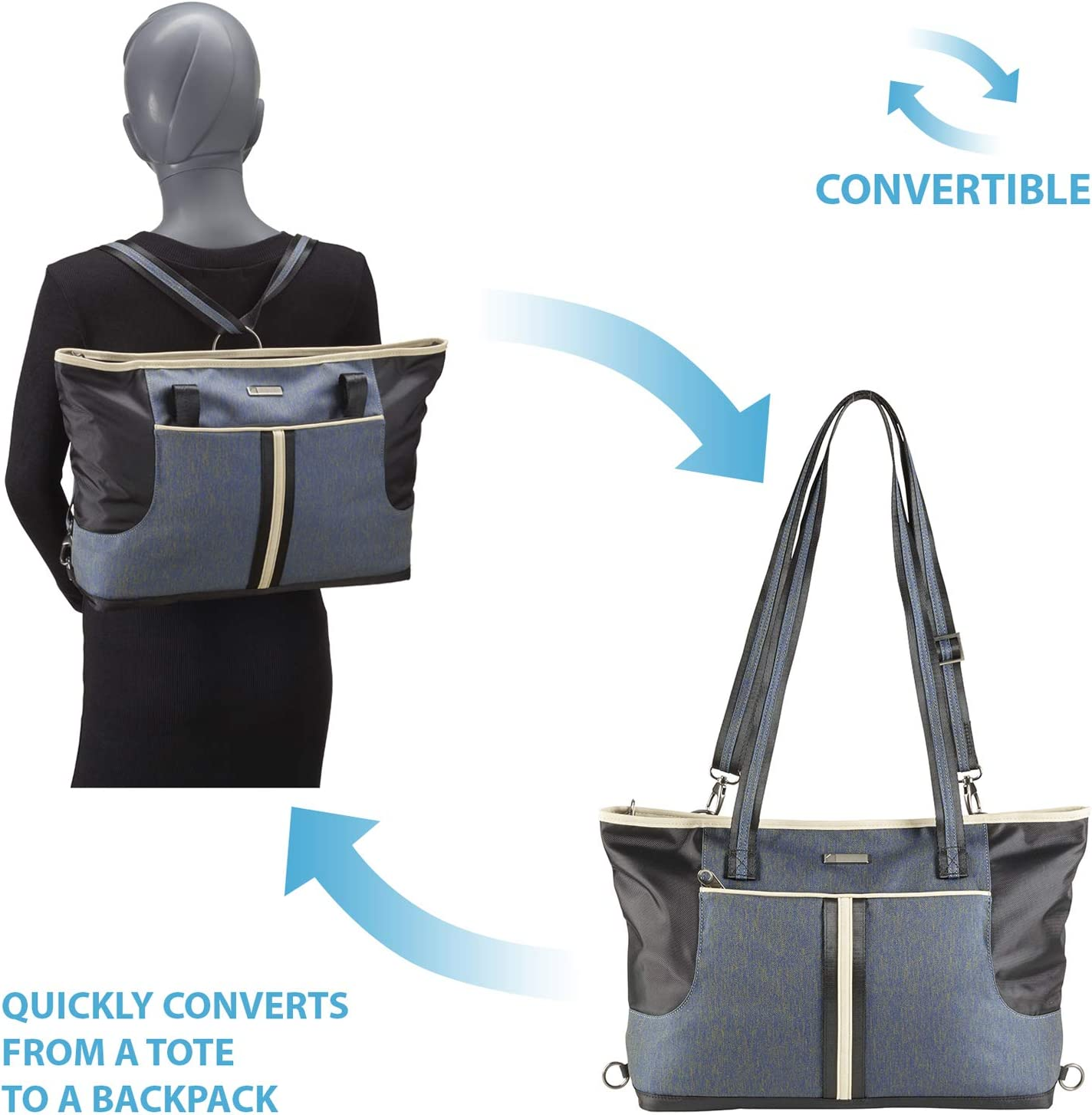 Anti-Theft Slash Resistant Material /& Locking Zippers Secura Destinations 2-In-1 Convertible BackPack Laptop Bag Tote for Travel or Work with RFID Blocking Card Slots