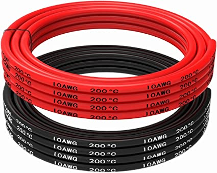 negro 1650 hilos de cable de cobre esta/ñado Cable el/éctrico de calibre 8 cable de bater/ía Cable de silicona 8 AWG suave y flexible