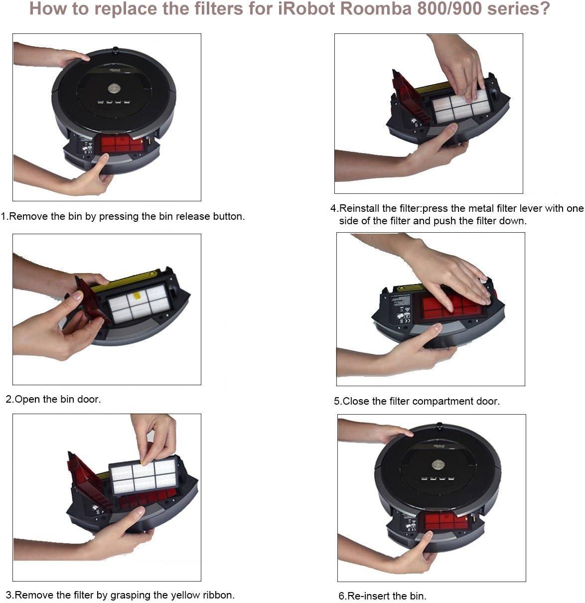Amoy B/ürsten Filter mit Schrauben f/ür iRobot Roomba 800 und 900 Serie 980 966 960 865 870 875 876 Zubeh/ör