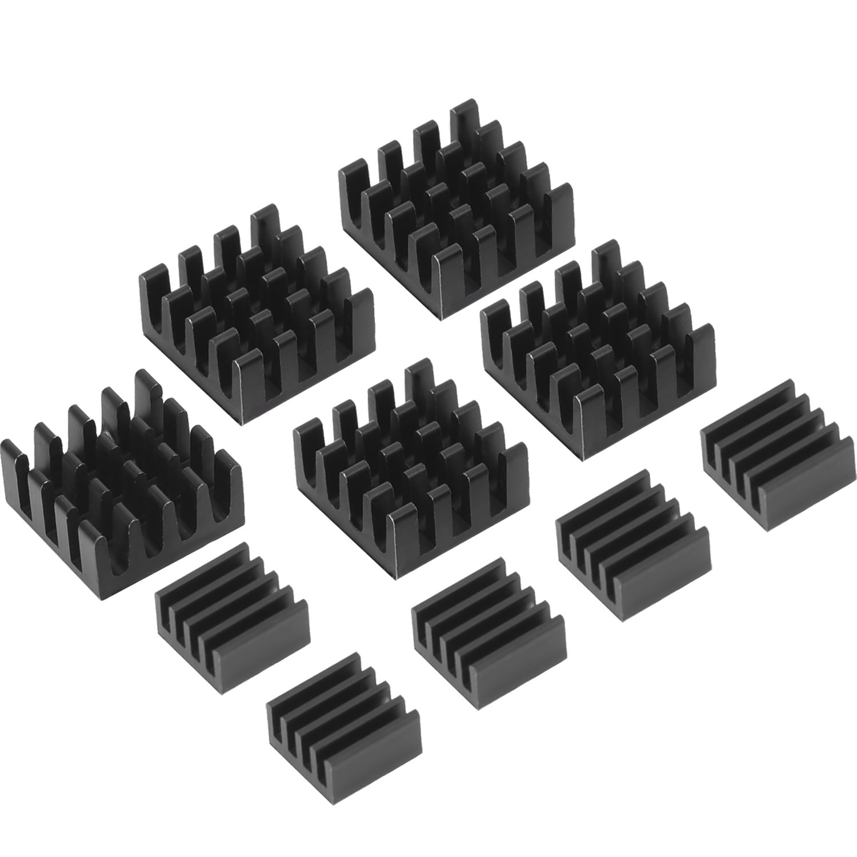 Mudder Black Aluminum Heatsink Cooler Cooling Kit for Raspberry Pi 3, Pi 2, Pi Model B+, 10 Pieces