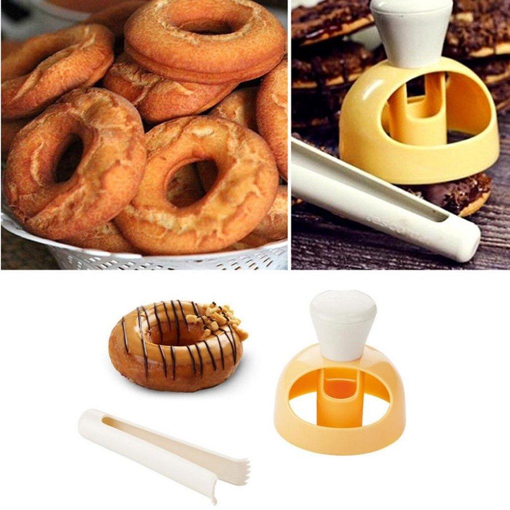 Donut Mold,Non-stick&Reusable Donut Mould Mold Fondant Cake Plastic Bakery Doughnut DIY Fried Donut Maker Cutter (Colorful)
