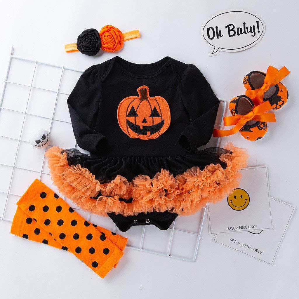 Fascia per Capelli Calze 4pcs Abbigliamento Bambina 6-24mesi BaZhaHei Bambini Halloween Set,Romper Manica Lunga Costumi Ragazze Casuale Stampa Zucca Pagliaccetto Vestito Scarpa