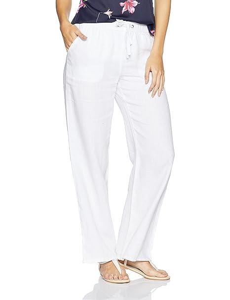 various styles prevalent select for genuine Marks & Spencer Women's Slim Linen Trousers (4579_White_10 ...