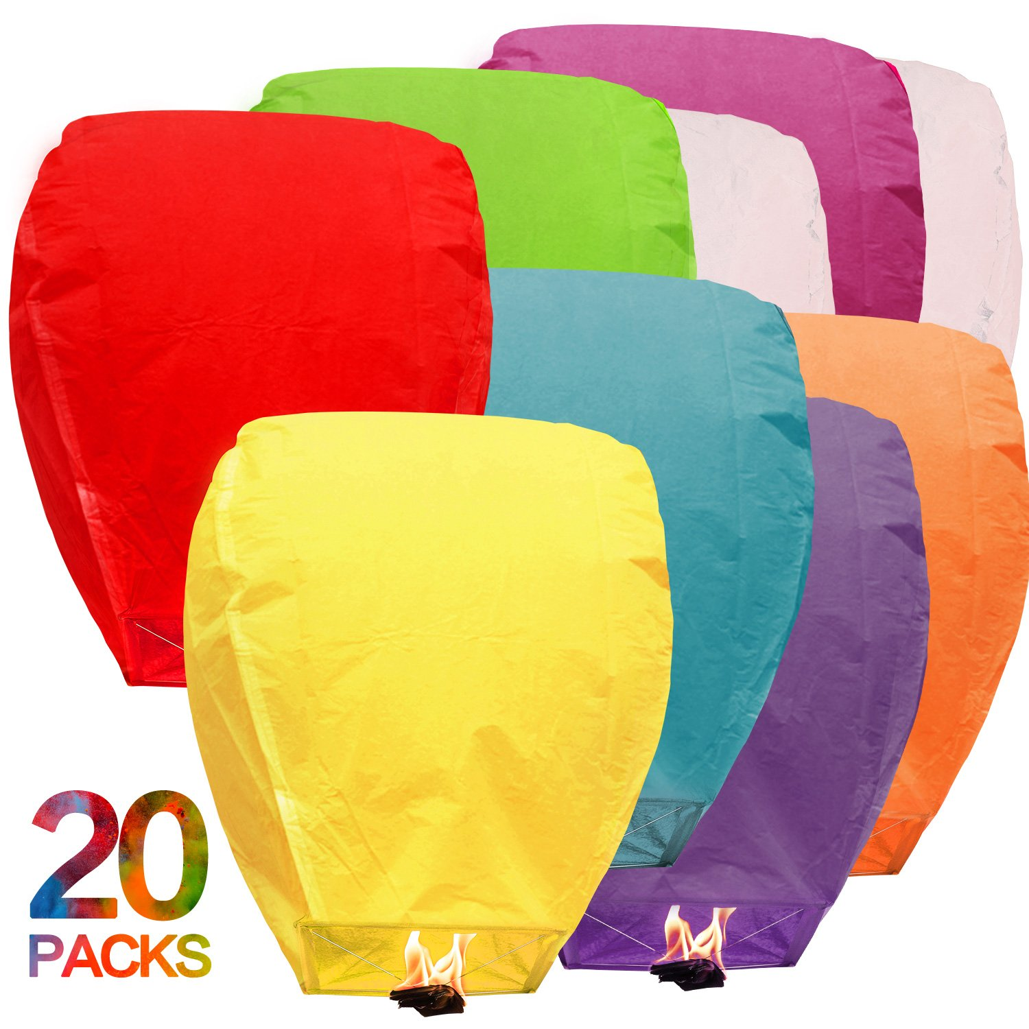 New Sky Lanterns Chinese Biodegradable Paper Bulk Assortment Romantic Night Blue Red and Other Mixed Colors 20 pack For Party Sea Beach Vacation Holiday