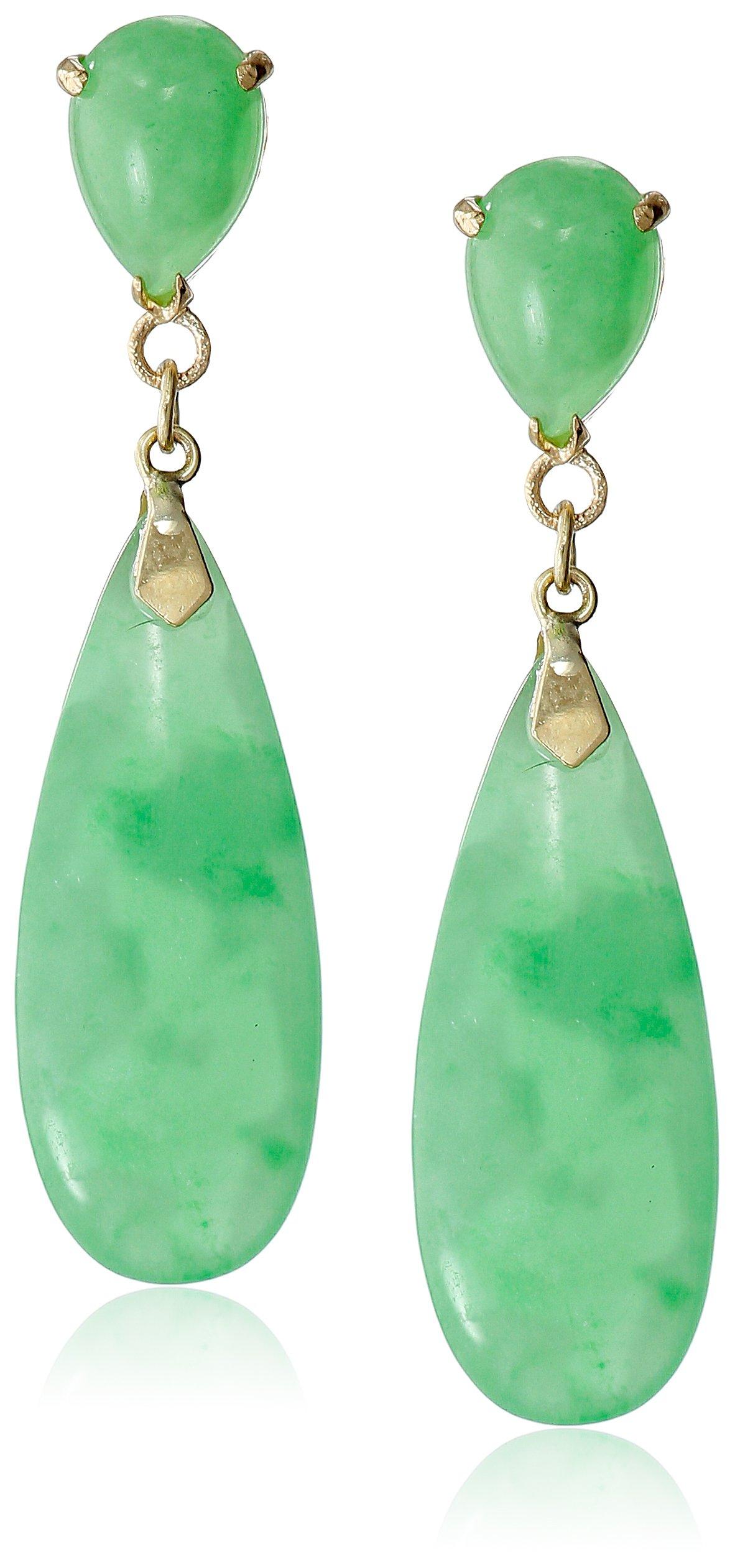 14k Yellow Gold Green Jade Teardrop Earrings