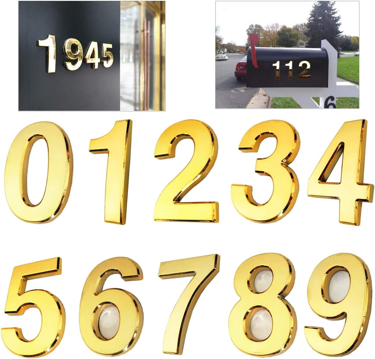 3D Address Numbers for Mailbox 10 Pcs Silver Door Numbers Stickers Office Room. 3 inch 0-9, Silver 3 Inch Self Stick House Numbers 0-9 Apartment