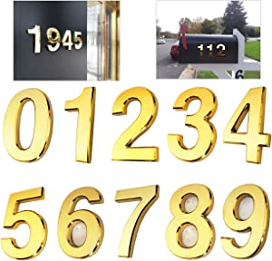 10 Pcs Mailbox Numbers 0-9, 3 Inch Gold House Numbers Stickers for Front Door, Apartment, Home Room, Address Plaque.(3 inch 0-9, Golden)