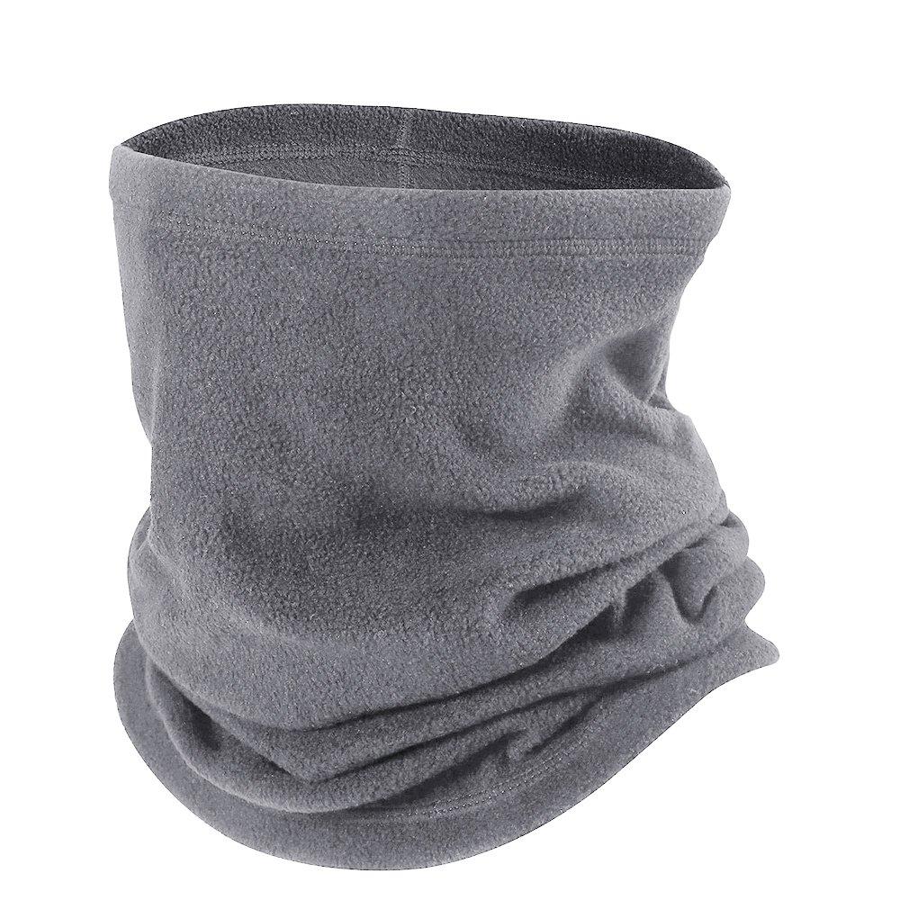 Opromo Fleece Snood Scarf Neck Warmer Beanie Hat Ski Balaclava Thermal Ski Wear-Gray-1piece