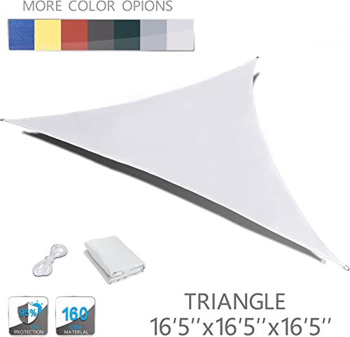 LOVE STORY 16 5 x 16 5 x 16 5 Triangle Beige Waterproof Sun Shade Sail Perfect for Outdoor Patio Garden