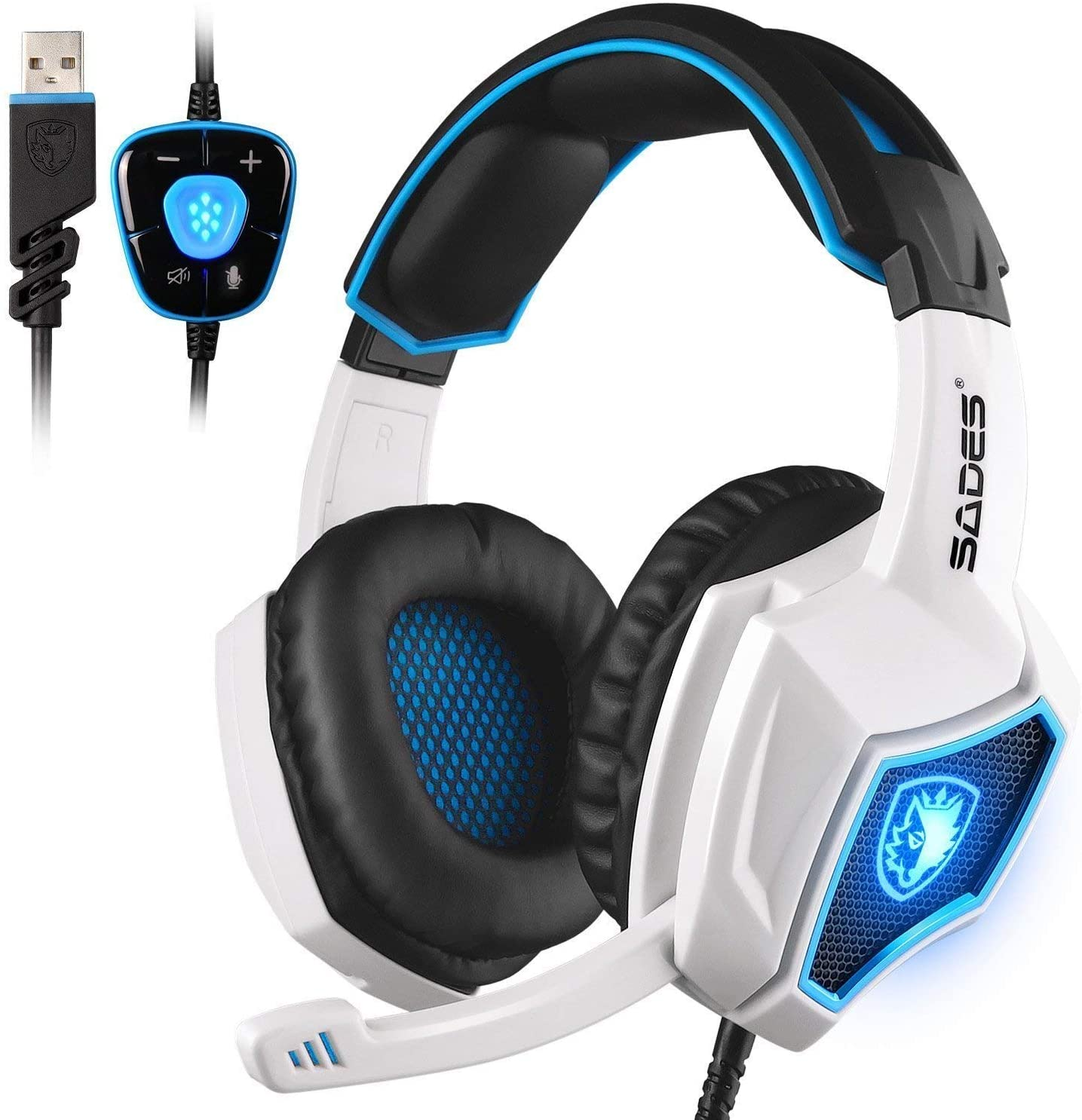 SADES Spirit Wolf USB 7.1 Computer Gaming Headset Wired Stereo Sound Headphone with Mic Volume Control LED Light for PC Gamers Black White
