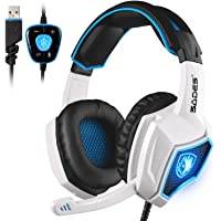 SADES Spirit Wolf 7.1 - Auriculares de diadema para videojuegos (sonido estéreo envolvente 7.1, USB, micrófono, aislamiento de ruido sobre la oreja, luz LED de respiración para jugadores de PC, color blanco y negro)