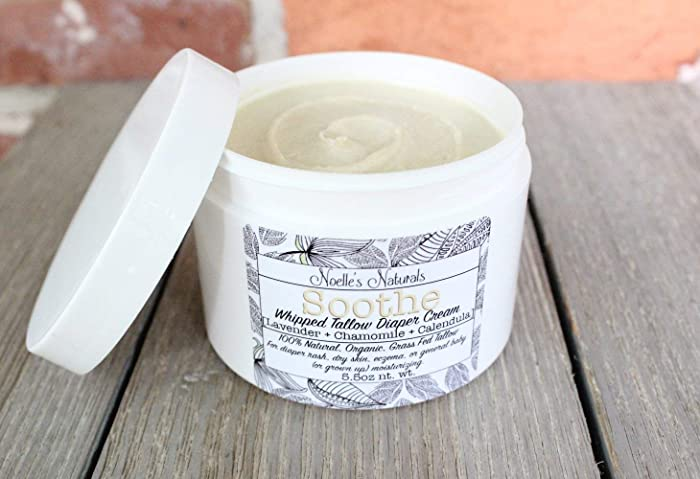 Amazon.com: Natural Diaper Rash Cream - Organic Grassfed Whipped Tallow - 5.5oz jar With Lavender, Chamomile, Calendula and Oatmeal - Cloth Diaper Safe: ...