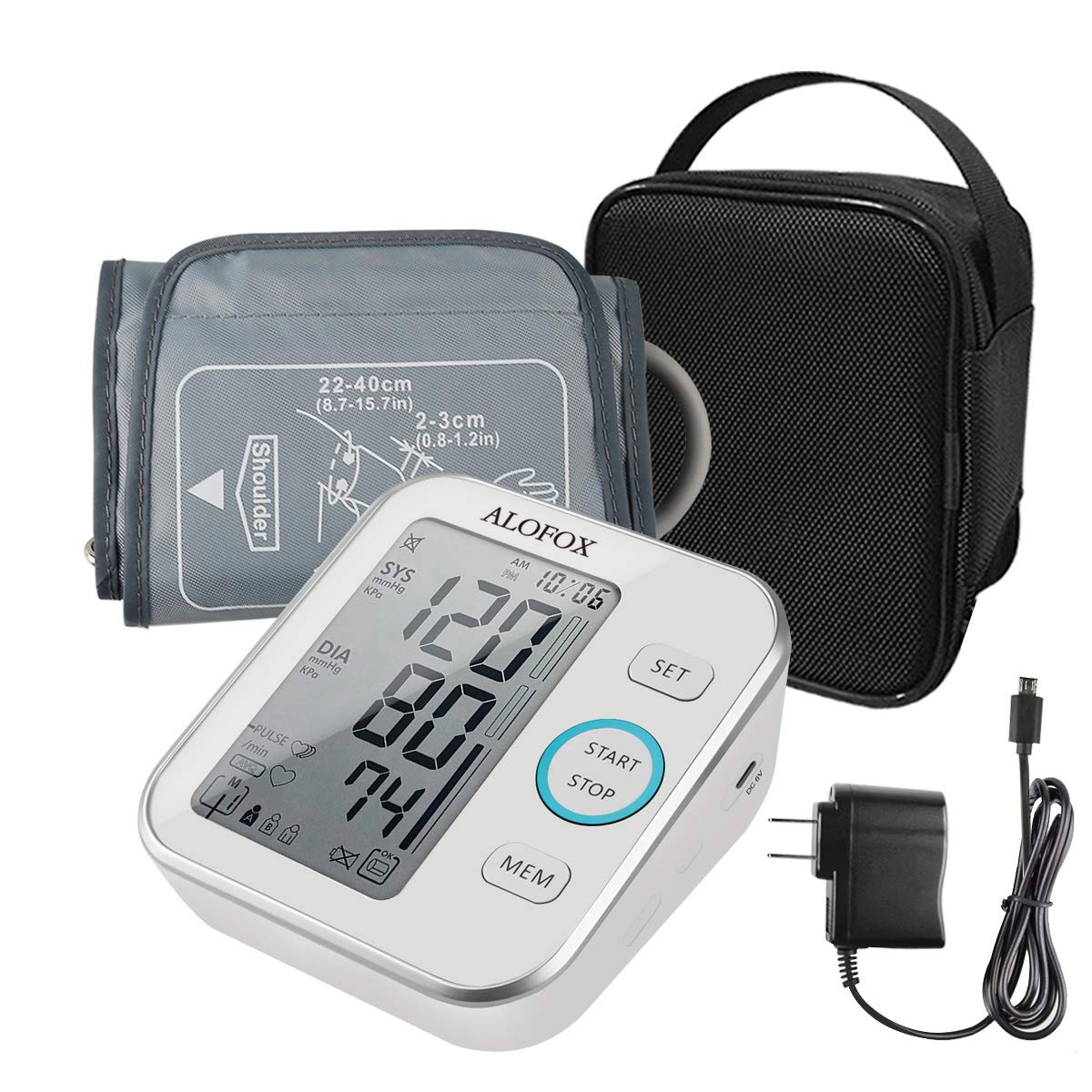 ALOFOX Blood Pressure Monitor Accurate Automatically Measure Pulse Diastolic Systolic Upper Arm Bp Machine for Home Use 2 User Mode with Large Cuff and 2×120 Sets Memory FDA Approved
