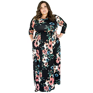 2818fcae2c7 Mycherish Women Floral Printed Long Sleeve Plus Size Maxi Long Dress  XXX-Large Black