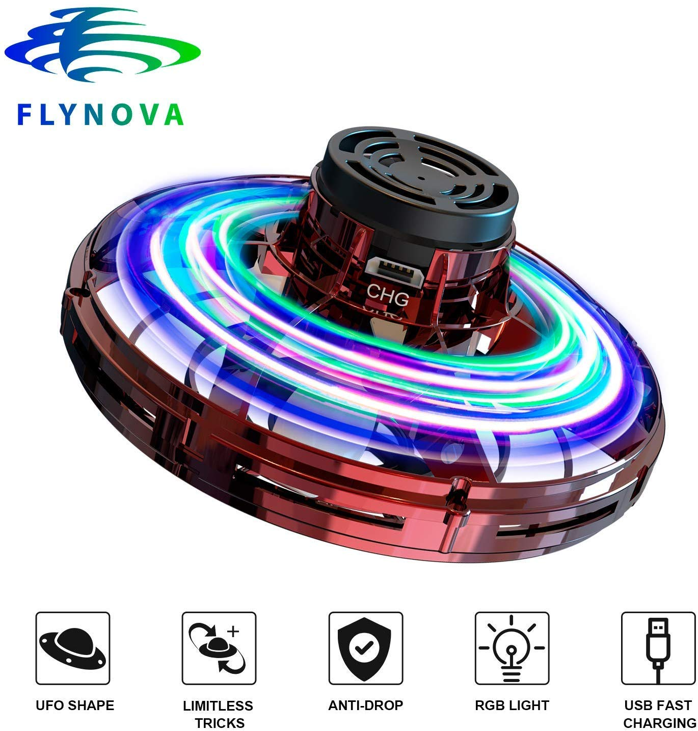 FRSWAY Flynova Flying Toy Hand Operated Drones for Kids or Adults Finger Controll Mini UFO Drone with 360/°Rotating and Shinning LED Lights Adult Gift for Surprises and Fun