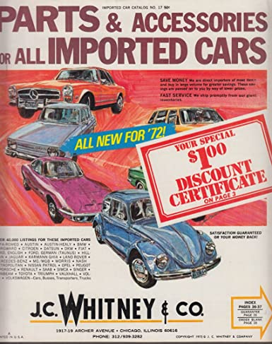 J C Whitney Imported Cars Parts & Accessories Catalog 1972