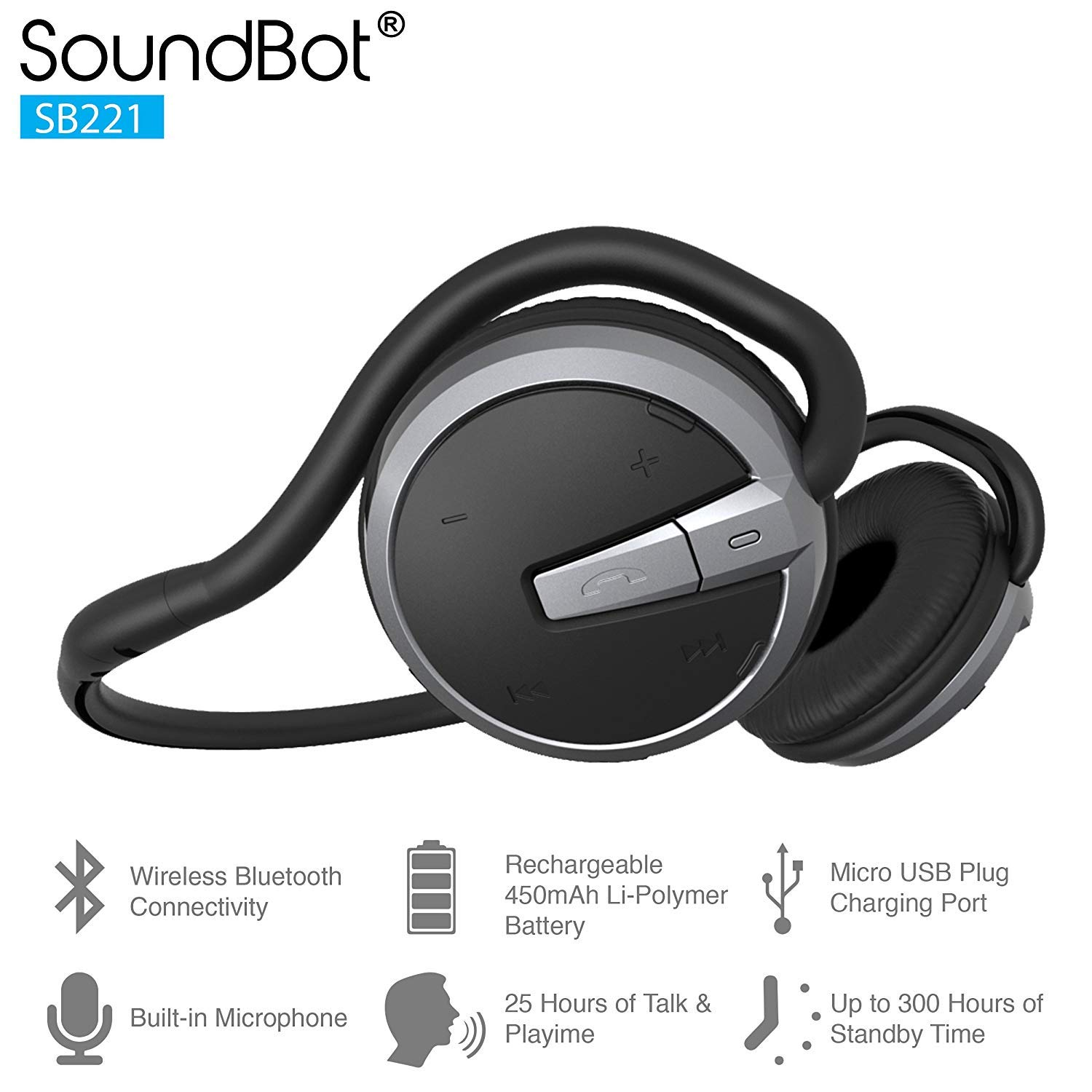 SoundBot SB221 HD Wireless Bluetooth 4.0 Headset Sports-Active Headphone for 20Hrs Music Streaming 25Hrs HandsFree Calling w Sweat Resistant Ergonomic Secure-Fit Design Voice Command Support